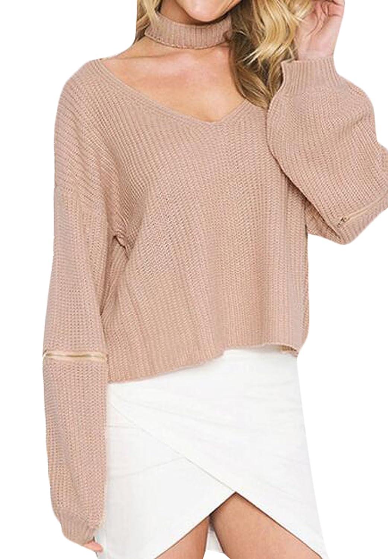 Genhao Women's V-neck Choker Zipper Sleeve Knit Pullover Sweater
