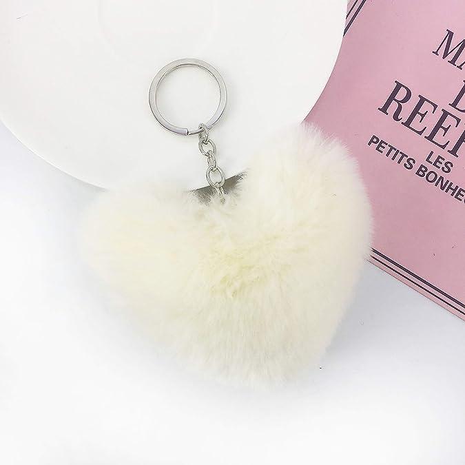 Amazon.com: Soleeebee - Llavero de piel de conejo artificial ...