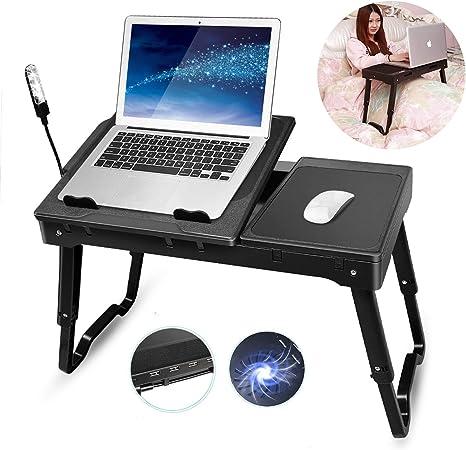 TeqHome - Escritorio para ordenador portátil para cama, soporte ajustable para cama con ventilador, escritorio portátil con patas plegables, mesa para sofá cama bandeja con luz LED, 4 puertos USB, almacenamiento: Amazon.es: