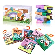 TUMAMA My Fisrt Soft Book, Soft Fabric Cloth Books for Newborn Babies, Early Education Toys for Boys and Girls, Pack of 6