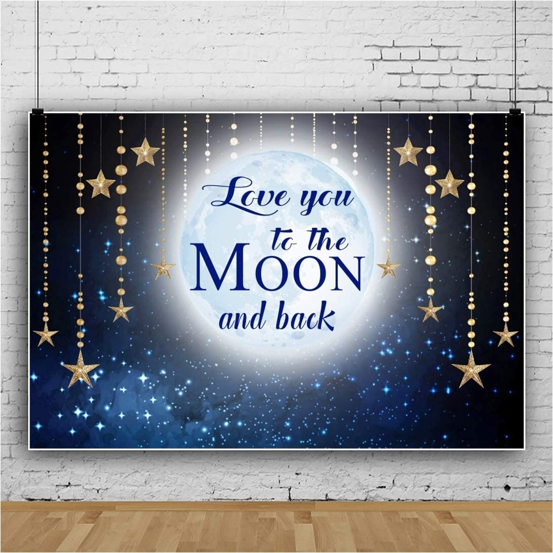 AOFOTO 5x3ft Space Moon Twinkle Little Star Backdrops Baby Shower Photo Booth Love You to The Moon and Back Baby Good Night Dream Background for Photos Photo Studio Props Vinyl