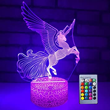 3D LED Night Light Illusion Lamp 7 Colour Change Decor Lamp Perfect Gifts for Kids Flying Unicorn