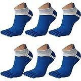 Saisiyiky Los hombres de malla Meias Deportes Correr Calcetines del dedo del pie