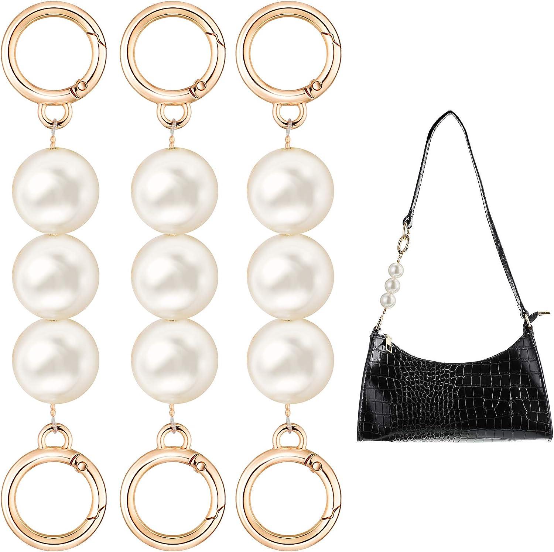 3 Pieces Bag Strap Extender Artificial Pearl Replacement Bag Chain Strap for Purse Clutch Handbag