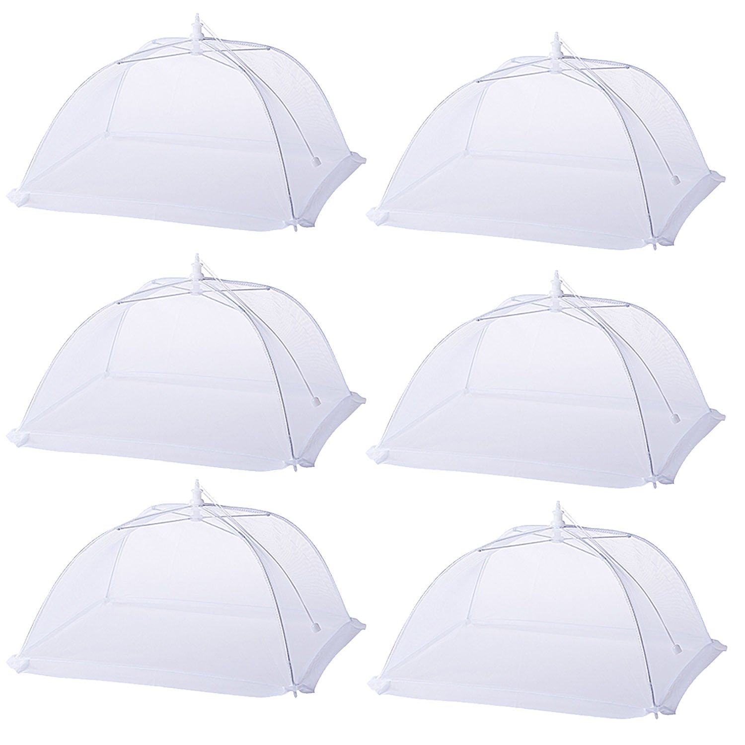 Higift (6 Pack) Large and Tall 17x17x11 Pop-Up Mesh Net Food Covers Tent Umbrella for Outdoors, Screen Fly Food Tents Protectors For Bugs, Parties Picnics, BBQs, Reusable and Collapsible