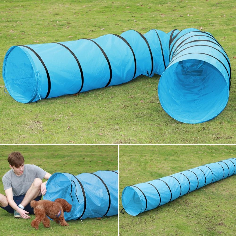 World Pride Dog Agility Training Tunnel in Different Size Blue (18 Ft)
