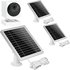 UYODM 3Pack Solar Panel for Wyze Cam Outdoor | Weather Resistant, 16.5Ft Outdoor Power Charging Cable, Adjustable Mount | Not for Wyze/Wyze v3 - Silver