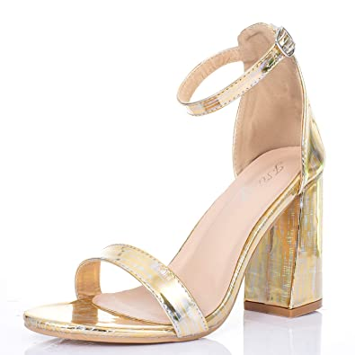 05f4d973e JSUN7 Women s Chunky High Heel Sandals Open Toe Block Laser Glossy PU Ankle  Strap with Buckle