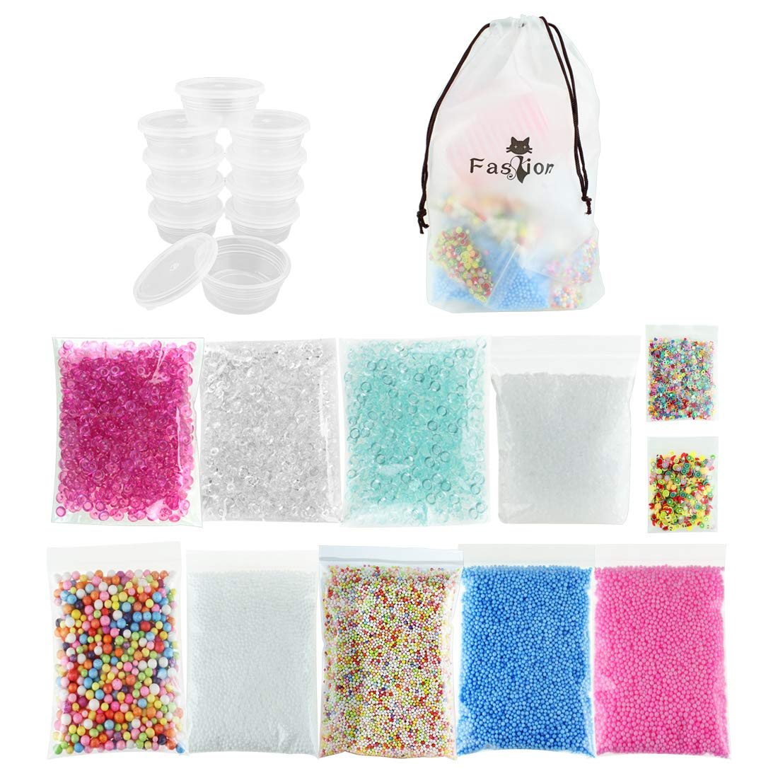 19 Pack Slime Supplies - 10pcs Storage Containers for 20g Slime, Fishbowl Beads Fish Bowl Filler 5.3oz, Colorful Styromfoam Foam Balls 13000pcs, Slushie Beads 3.5oz Bonus Fruit Splice, Glitter Sequins JINSEY Slime Kit-19
