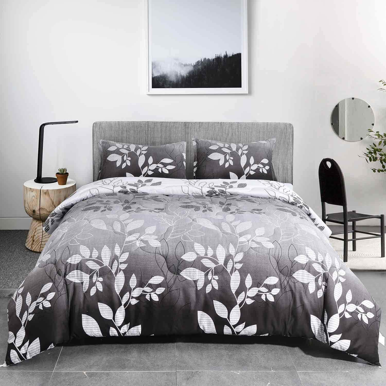 NANKO Queen Comforter Set 3pc , Grey Leaf Floral Reversible Down Alternative Microfiber Bedding Comforters - All Season Duvet and 2 Pillowshams Bed Sets for Women, Men Size 88 x 90 Gray Flower