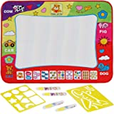 Anpro Rainbow Colour Water Drawing Mat, 80x60cm Water Doodle / Paiting Mat with 4 Magic Water Doodle Pens Kids Childrens Toys