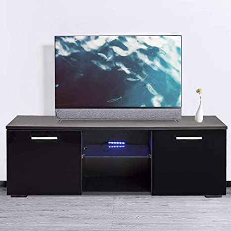reputable site 1ffab cf62c Joolihome 47 inch TV Stand Cabinet Black High Gloss TV Console Cabinet  Shelves Entertainment with 2 Drawers LED Lights 47-inch TV Screen  White/Black ...