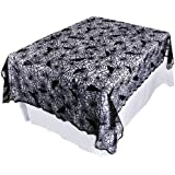 "OurWarm Halloween Tablecloth Black Lace Fabric Square Table Cloth Rectangle 60""x84"" Spiderweb and Bat Gothic Decoration Indoor and Outdoor Cheap Cover Party Decor Kitchen Cloth"