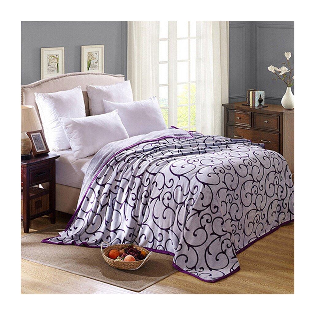 クリップされたパターン毛布寝具ひざ掛けフリーススーパーソフト暖かい値カットパープル200 B01AA4MVP2