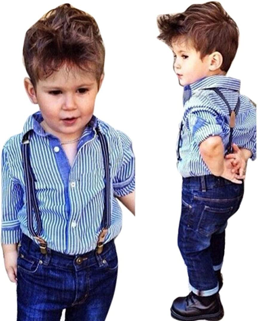 Clode/® for 2-6 Years Boys 1Set Baby Boys Striped Collared Shirt Long Sleeve Tops Bib+Straps Jeans Overalls Outfit Blue