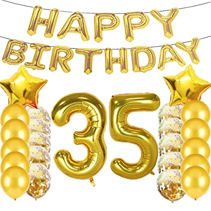 Sweet 35th Birthday Decorations Party SuppliesGold Number 35 Balloons35th Foil Mylar Balloons