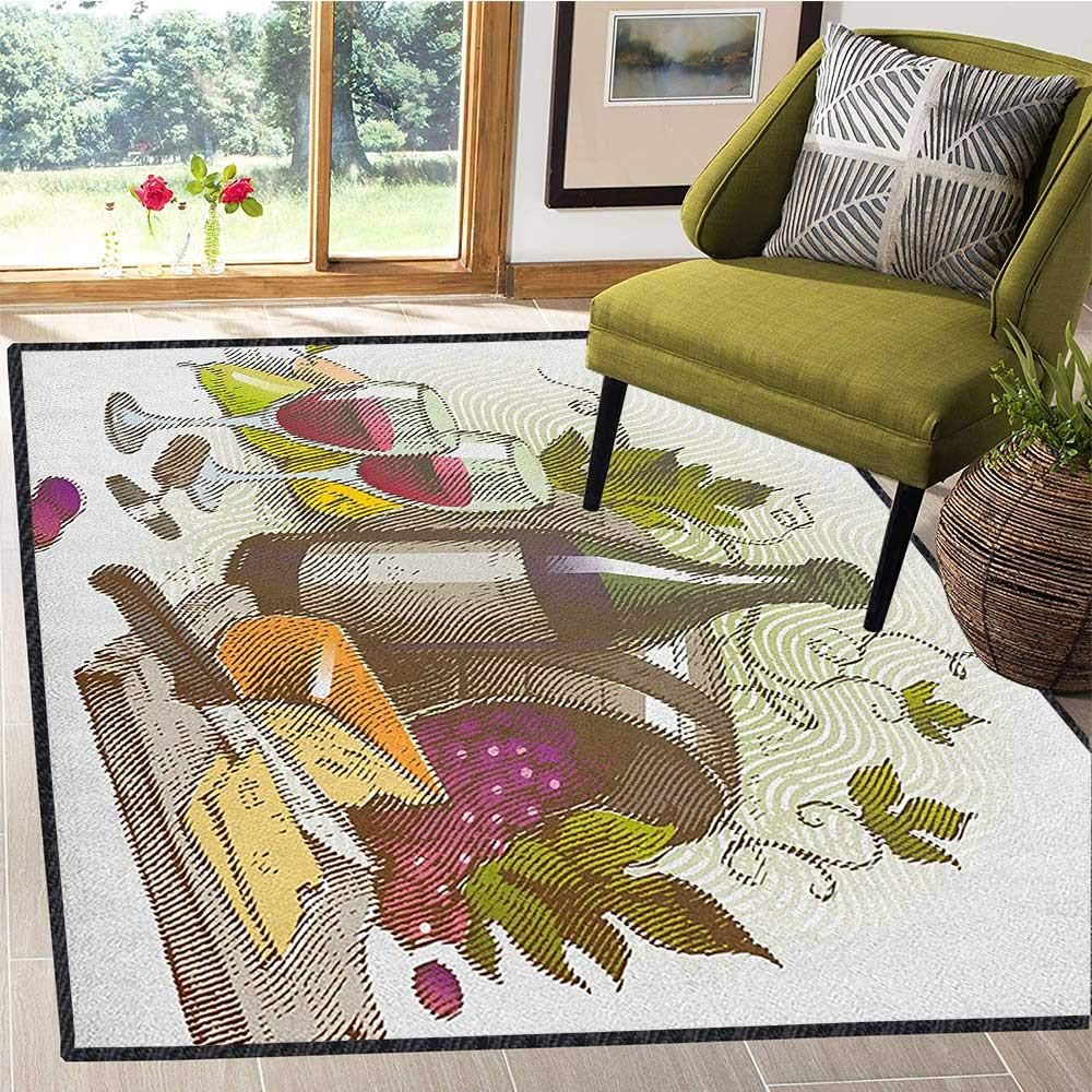 Wine Super Cozy Bathroom Rug Carpet,Vintage Style Composition with Wine and Cheese Fruits Gourmet Taste Beverage and Food Maximum Absorbent Soft Multicolor 67''x79'' by Philip C. Williams