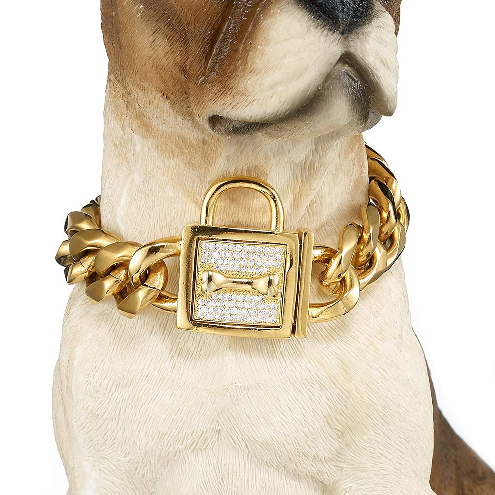 W/W Lifetime Badass Dog Collar for Large Dogs, Heavy Duty Gold Choke Collars for Pitbull Mastiff German Shepherd