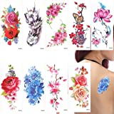 ULTNICE 9 Sheets Temporary Flower Tattoos Stickers Peony Butterfly Lotus Cherry Blossoms Flash Tattoo