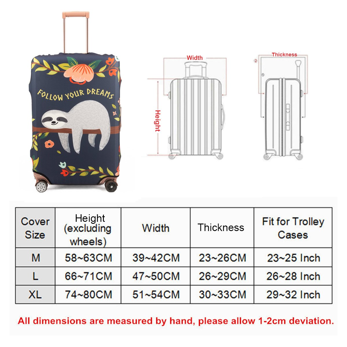 Madifennina Spandex Travel Luggage Protector Suitcase Cover Fit 23-32 Inch Luggage (sloth, XL) by Madifennina (Image #7)