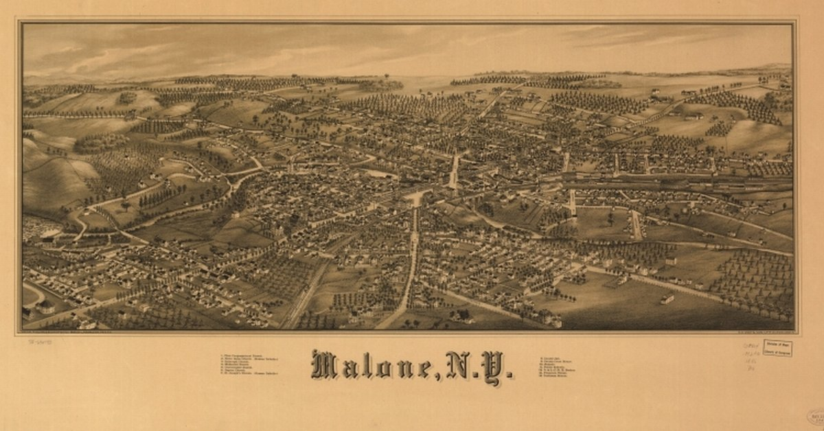 Amazon.com: 1886 Malone New York, Bird\'s Eye Map Malone, N.Y. Drawn ...