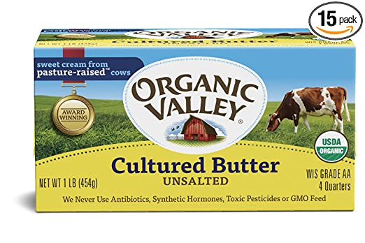 Organic Valley, Organic Cultured Butter, Unsalted, 1 lb