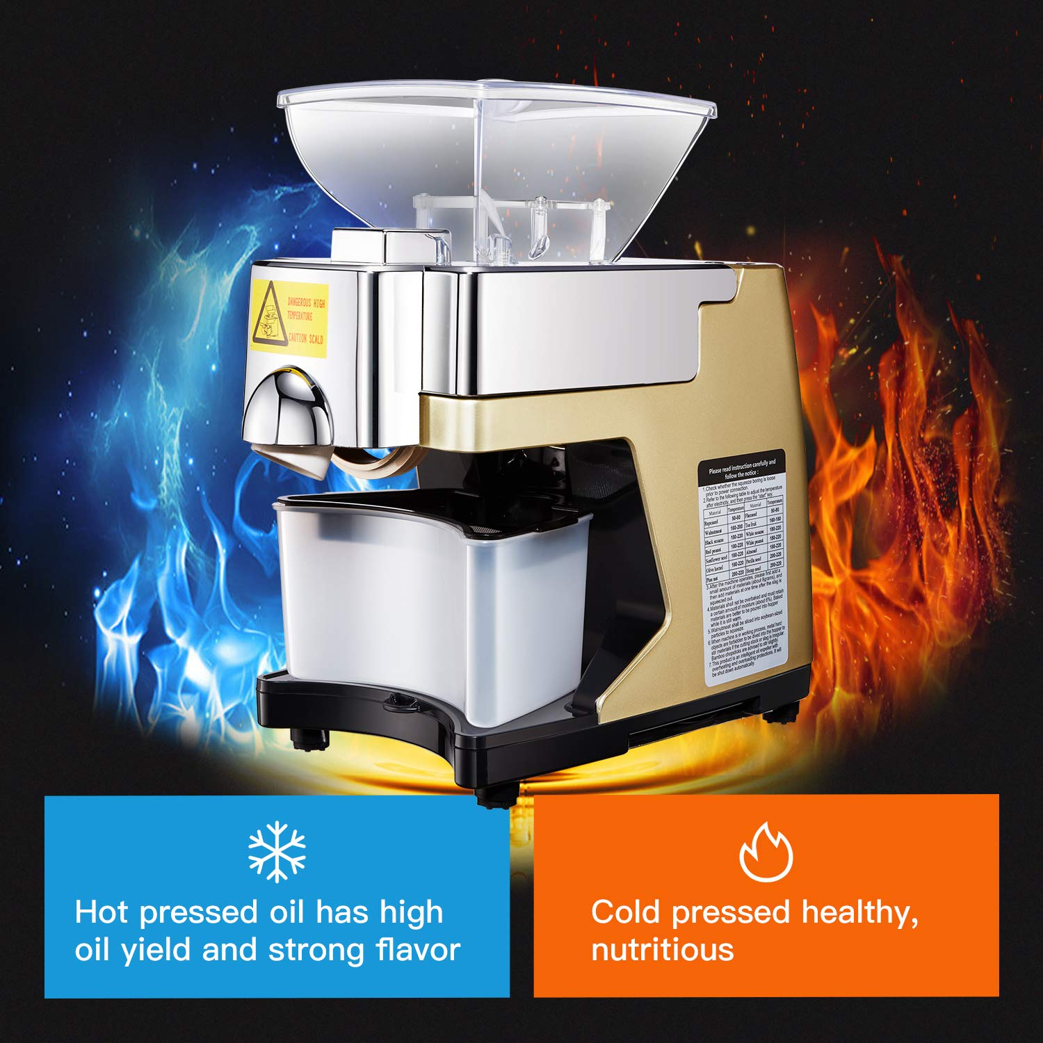 Check Oil Hot Or Cold >> Amazon Com Automatic 450w Home Oil Press Machine Intelligent Voice
