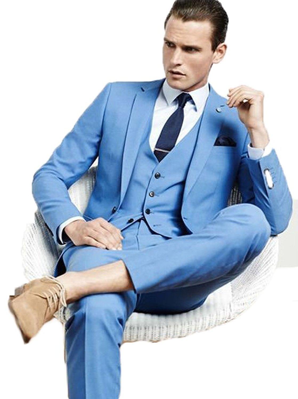 Lilis Men\'s Blue Men Suit 3 Pieces Wedding Suits Jacket Vest Pants ...