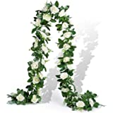 EPLST 2 Pack / 15.7 FT Artificial Flowers Lifelike Silk Decorative Faked Flower Rose Vine Rattan Cane Garland Wall Hang…
