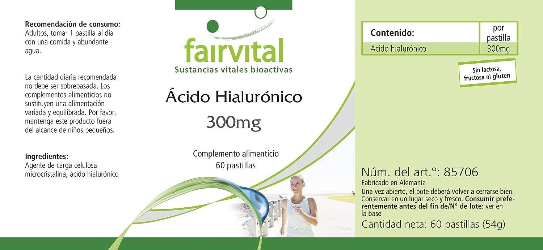 300 mg Ácido hialurónico - para 2 meses - VEGAN - ALTA DOSIS - 60 comprimidos: Amazon.es: Salud y cuidado personal