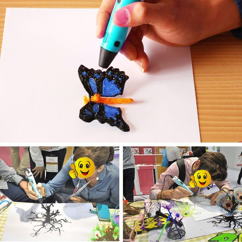 artista bricolaje dibujo 3Doodler Pen Kits Pluma de impresi/ón 3D con pantalla LCD para adultos ni/ñas etc. Azul Doodling Pluma de dibujo 3D para ni/ños con 9 M de largo 3 colores PLA