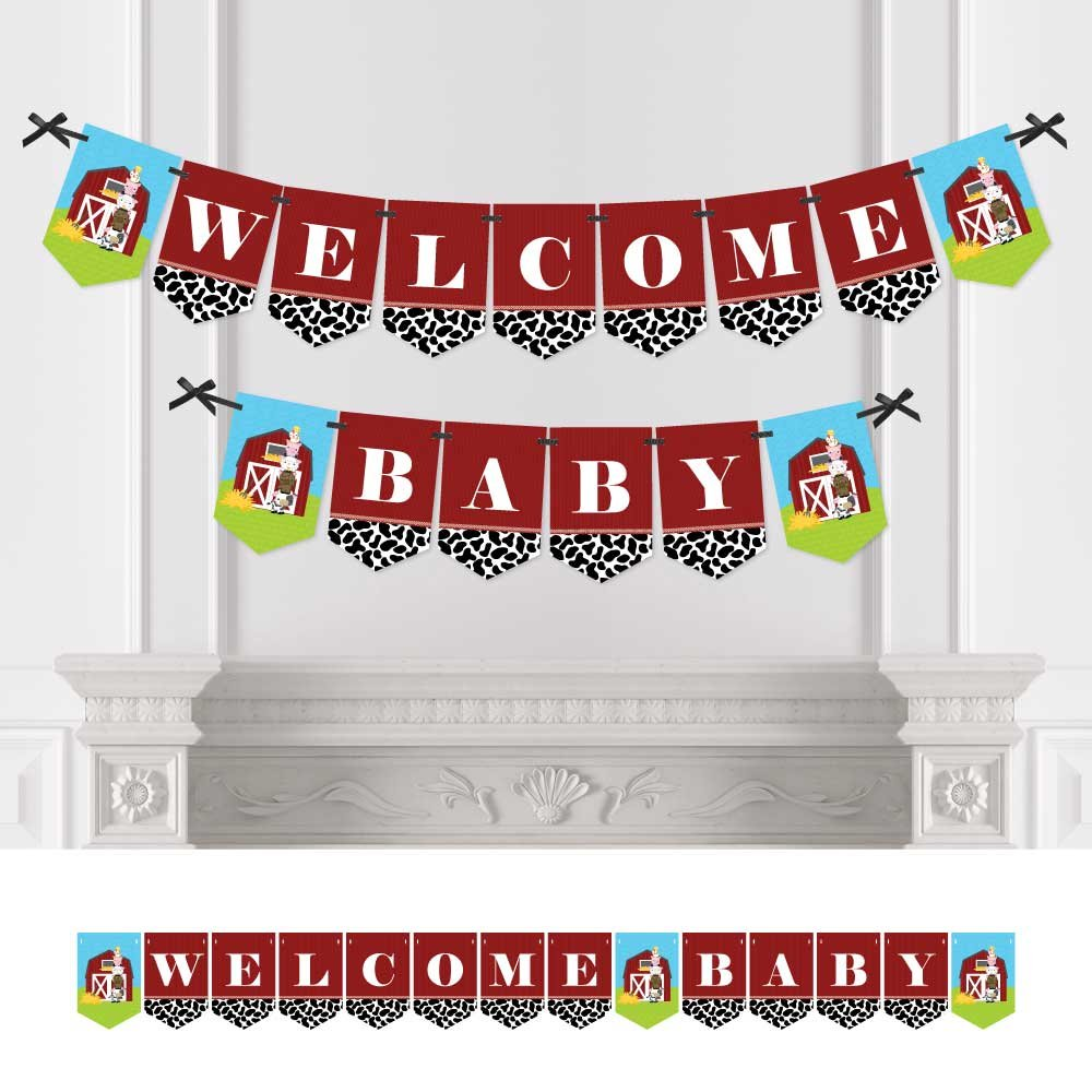 Farm Animals - Baby Shower Bunting Banner - Barnyard Party Decorations - Welcome Baby