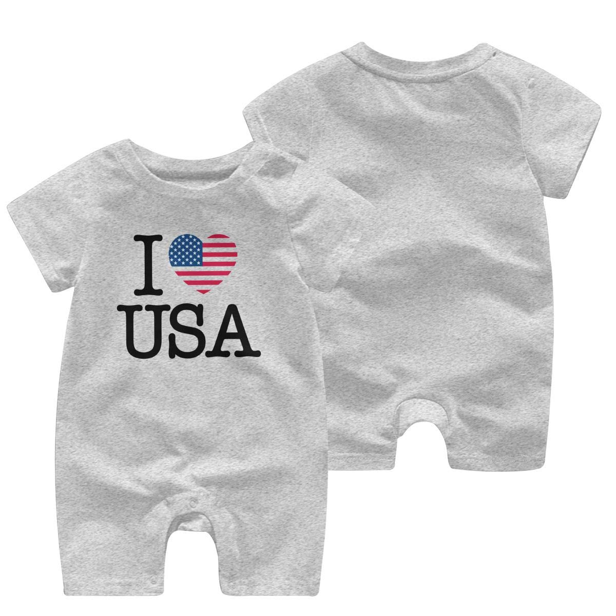 I Love USA Newborn Baby Short Sleeve Bodysuit Coverall 0-24 Months