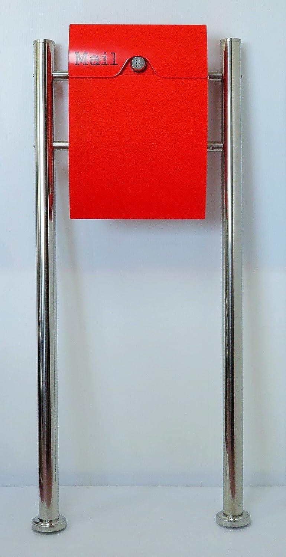 郵便ポスト郵便受け北欧風大型メールボックススタンド型ダイヤル錠付プレミアムステンレスレッド赤色ポストpm164s B018NNT7RM 20880