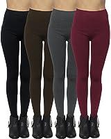 4-Pack: Women's Seamless Fleece Lined Leggings