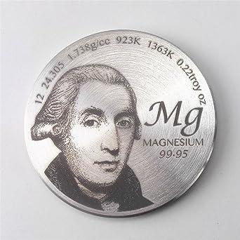 Homenaje a descubridor de magnesio 1,5 pulgadas Diámetro Pure MG metal moneda