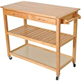 "HomCom 45"" Wood Kitchen Utility Trolley Island Cart"