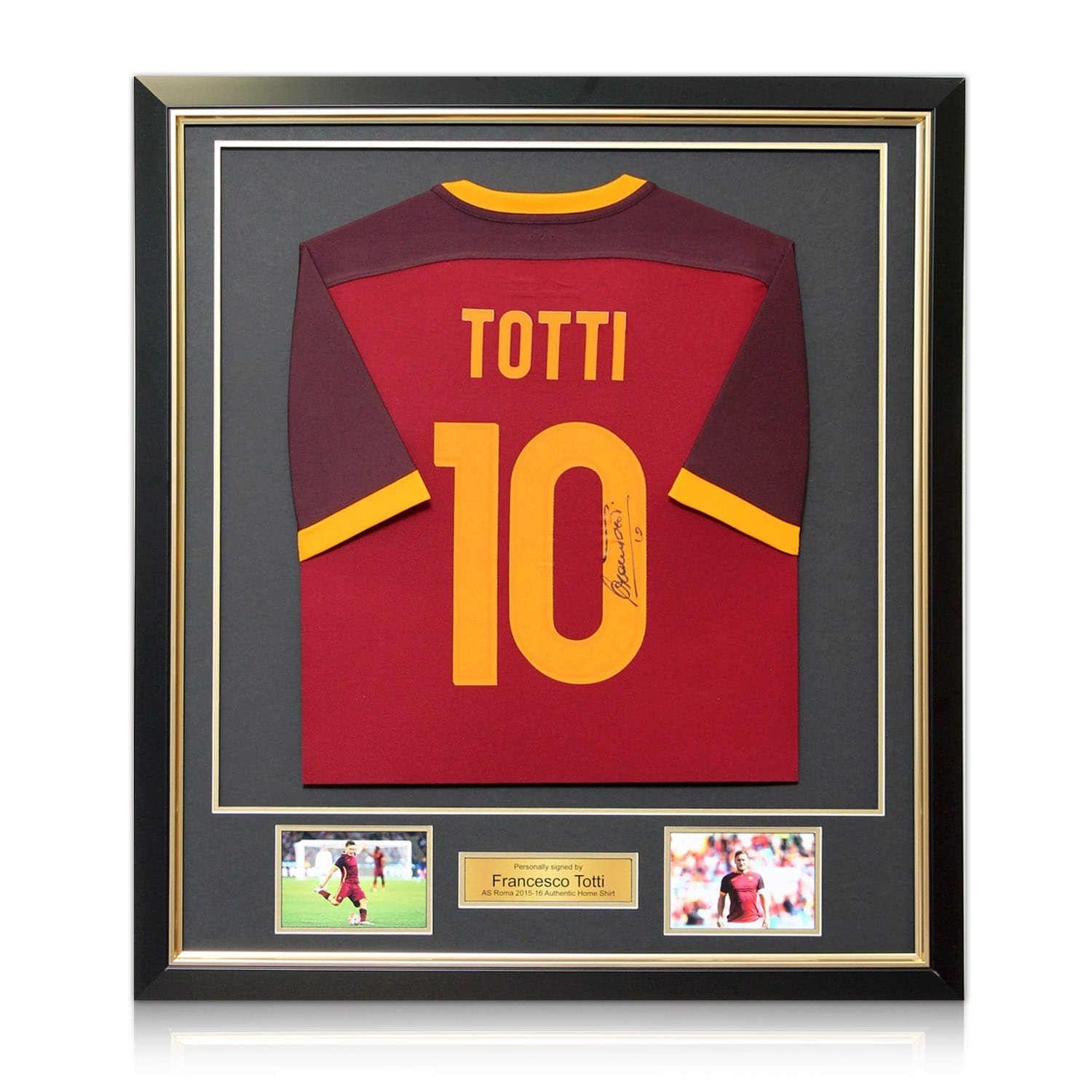 91c2499156e Francesco Totti Signed AS Roma 2015-16 Authentic Home Jersey In Deluxe  Black Frame With Gold Inlay at Amazon's Sports Collectibles Store