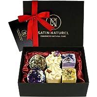 Bio Badepralinen 6er Geschenkset - Ideale Geschenk Idee für die Frau zu Weihnachten - Höchste Qualität von SatinNaturel - Vegane Badekugeln in hochwertiger Geschenkbox mit Satin Ausbettung + Schleife