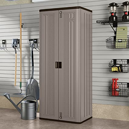 Tall Garage Utility Storage Cabinet With Locking Doors  Scratch Proof  Dent Proof Resin