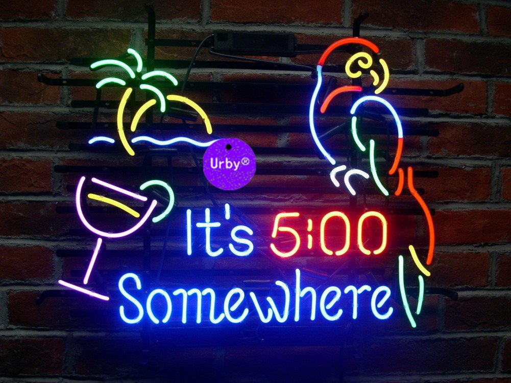 Urby™ 20''x16'' It's 5 :00 S omewhere Parrot Custom Handmade Real Glass Neon Sign Beer Bar Light 3-Year Warranty-Excellent & Unique Handicraft! U117