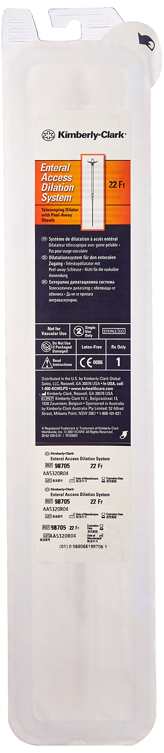Halyard Health 98705 Enteral Access Dilation System, Peel-Away 22 Fr, Sterile