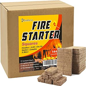 Natural Fire Starters 144 Squares Charcoal Starter for Grills Fireplace Camp Fire Pit Smokers, Waterproof Firestarter for Wood Pellet Stove Quick Lighting Burns 8-10min