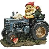Design Toscano Bunny auf dem Traktor, Gartenzwerg