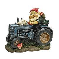Garden Gnome Statue - Bunny on Board Garden Gnome Tractor - Lawn Gnome