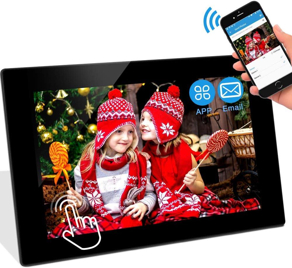 Twitter sofort teilen Facebook WiFi Digitaler Bilderrahmen WLAN Elektronischer Fotorahmen mit 10.1 Zoll 1280P IPS Full HD Touchscreen 16GB Speicher Foto Video /über App//E-Mail aus Handy