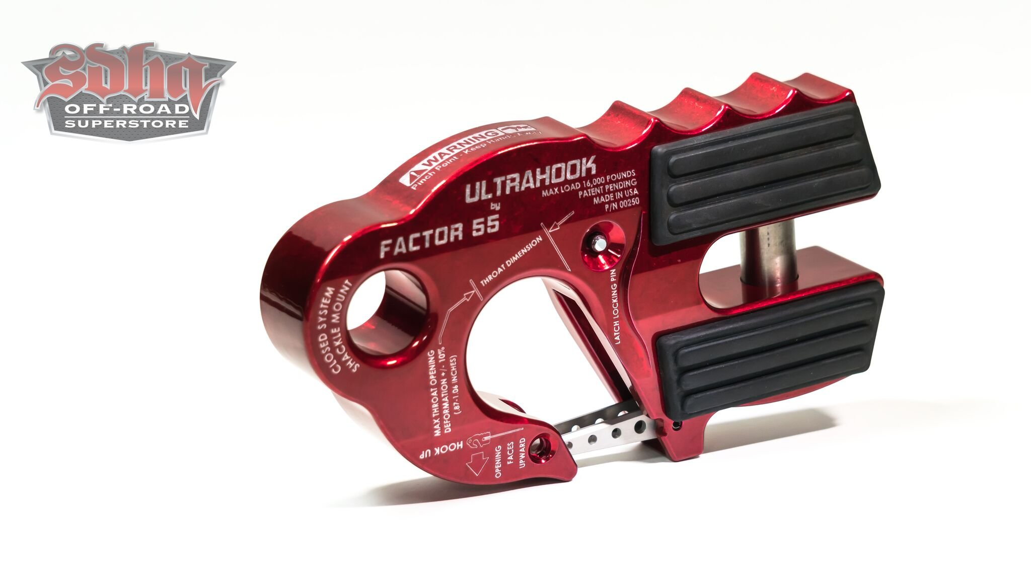 Factor 55 UltraHook Winch Hook with Shackle Mount - Red by FACTOR 55