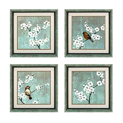 Dzhan wall art for living room canvas prints the birds 4 pieces 16x16 inches original framed