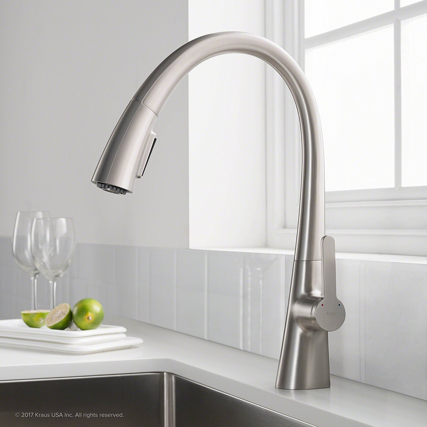 KRAUS Nolen Spot Free Kitchen Faucet, Stainless, Pull Down, Single handle in all-Brite Steel Finish KPF-1673SFS