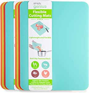 """Simply Genius (8 Pack) 11.5 x 15"""" Extra Thick Cutting Boards for Kitchen Prep, Non Slip Flexible Cutting Mat Set, Dishwasher Safe, BPA Free Plastic Colorful Chopping Mats for Meats and Vegetables"""